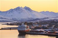 Hurtigruten at the pier in Tromso. Photo by Shigeru Ohki, Nordnorsk Reiseliv